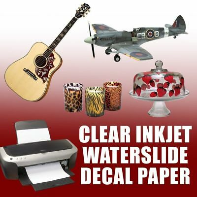Waterslide Decal Transfer Paper 5 Sheets Inkjet Clear 8.5 X 11 1