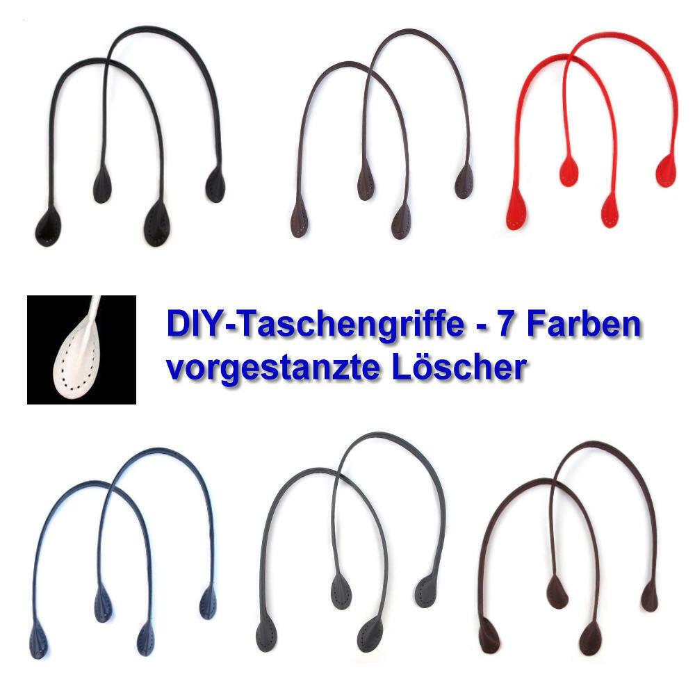 DIYTaschengriffe Taschenhenkel 1 Paar, schwarz, weiß, rot, blau, grau, braun