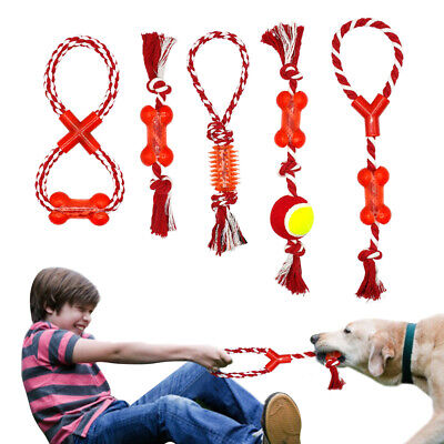 - Cotton Pet Dog Rope Chew Tug Toy Knot Bone Ball Playing Teeth Cleaning Toys