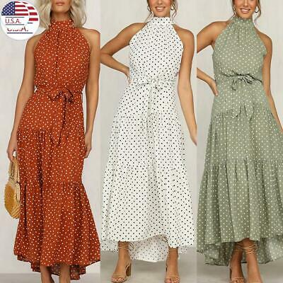 Women Ladies Sleeveless Long Maxi Dress Ladies Summer Holiday Beach Sundress USA
