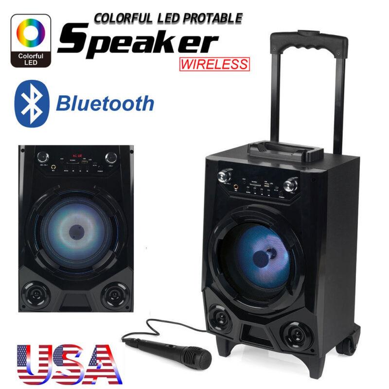Portable Bluetooth Party DJ Karaoke PA Speaker Rechargeable USB FM AUX