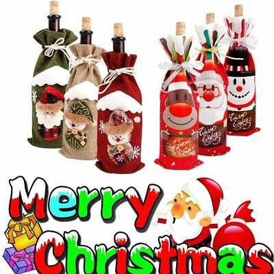 Red Christmas Decorations (Xmas Wine Bottle Gift Bags Snowman Santa Claus Christmas Decoration Sequins)