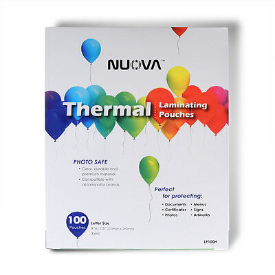Nuova Premium Thermal Laminating Pouches 9 x 11.5 Letter Size, 3 mil, 100-Pack
