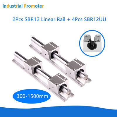 Us 2x Sbr12 Linear Rail 300-1500mm 4x Sbr12uu Block Linear Guide Shaft Rod