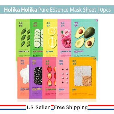Holika Holika Pure ESsence Mask Sheet 20ml 10kind + FREE SAMPLE [US SELLER]