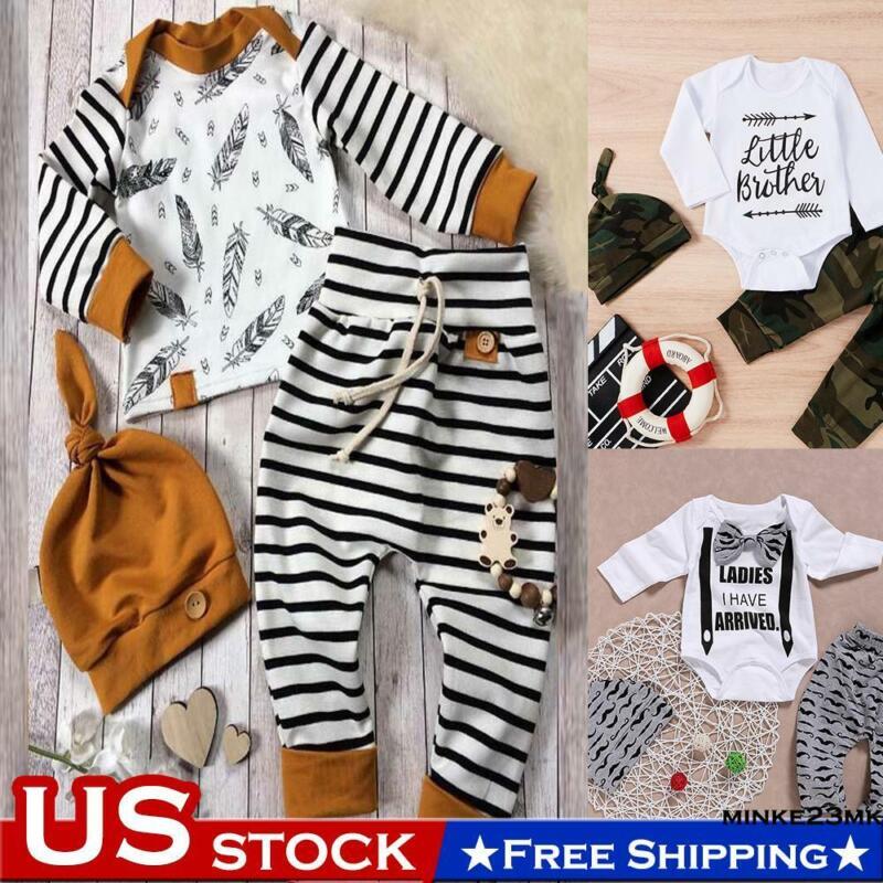Newborn Infant Baby Boy Girl Outfits Clothes Romper Bodysuit Tops+Pants+Hat Sets