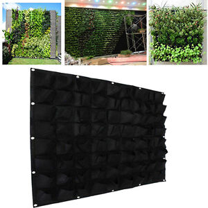 72 Pockets outdoor Vertical Greening Hanging Wall Garden Plant Bags Wall Planter