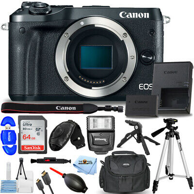 Canon EOS M6 Mirrorless Digital Camera (Body Only, Black) + 64GB + Flash Bundle