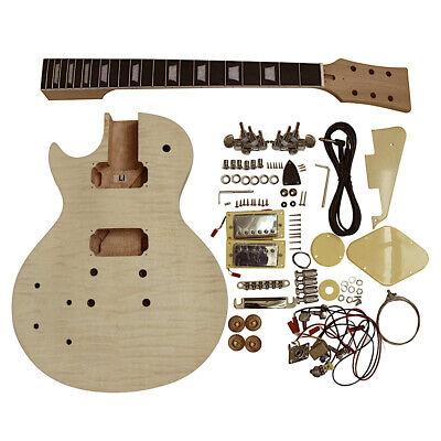 Coban Guitarras Eléctrica Bricolaje Kit para Zurdos LP7L Flameado Arce Cromo