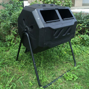 Compost Tumbler 5 cu. ft. Tumbler Tumbling Composter Bin Black 2 Compartment