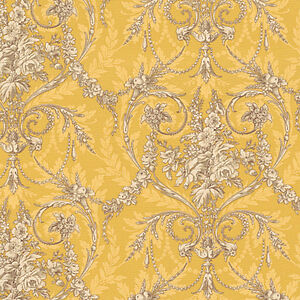 Cotton-Bedding-Covering-Vintage-Retro-Dandy-Damask-Gold