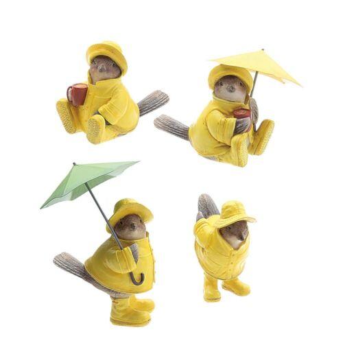 Creative Co-Op Resin Bird Figurines Sparrows in Raincoat 2 w/Umbrella Set of 4