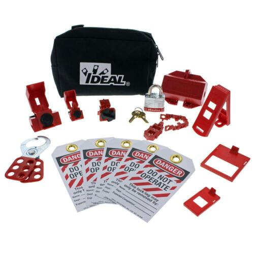 Ideal 44-970 15-Pieces Basic Lockout/Tagout Kit with Zippered Pouch