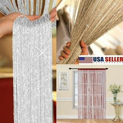 US Glitter String Door Curtain Beads Room Dividers Beaded Fr