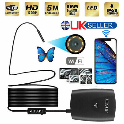 8.5 mm WIFI Endoscope Wireless LED Borescope Inspection Camera iPhone Android fb