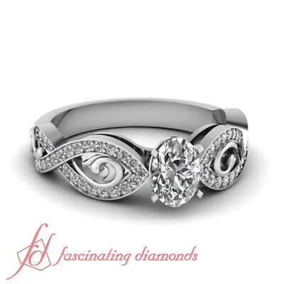 Pave Set 1 Ct Oval Shaped Modern Diamond Rings Engagement In 14K White Gold GIA