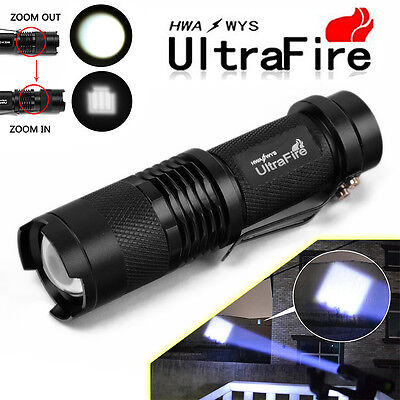 2x Ultrafire 6000Lumen ZOOM T6 LED Rechargeable Flashlight Torch Super Bright US