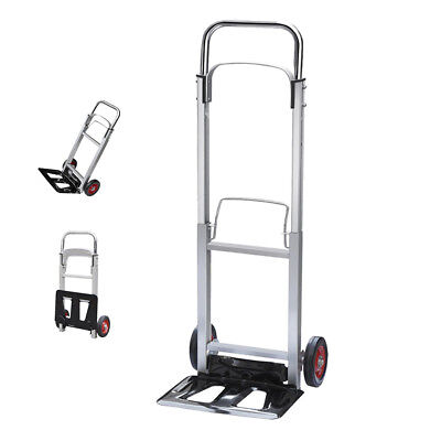 Folding Hand Truck Lightweight Aluminium Alloy Heavy Duty Sack Cart 90kg UKED