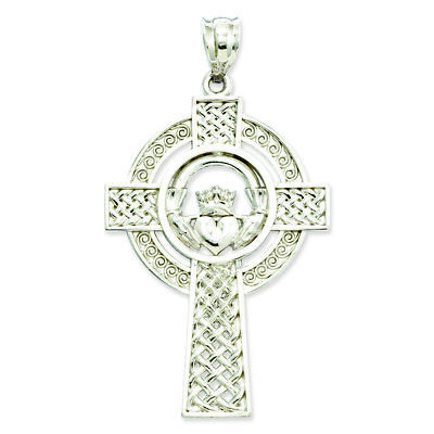 14K White Gold Celtic Claddagh Cross Charm Pendant MSRP $488 ()