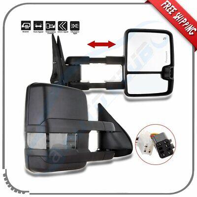 Pair For 99-02 Chevy Silverado GMC Sierra Power Heated LED Signal Tow Mirrors
