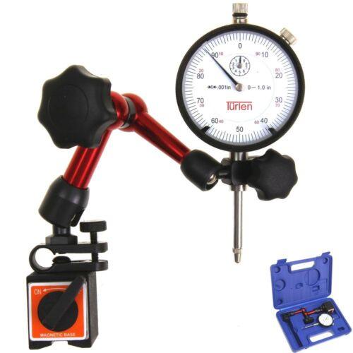 "Türlen Dial Indicator 1""/0.001"" and Mini Magnetic Base w/Fine Adjustment in Case"
