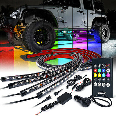Xprite 4pcs RGB Color LED Lights Strip Under Car Tube Underglow Neon Light Kit
