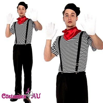 Mens Mesmerizing Mime Costume French Artist Clown Circus Fancy Dress Outfits - Mime Outfit