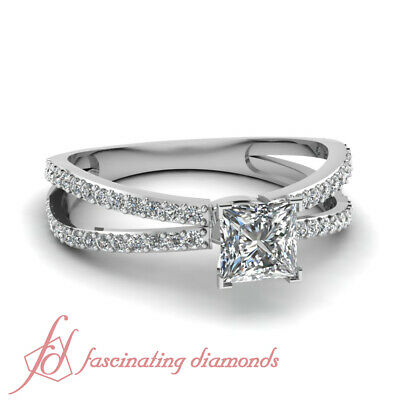 1.5 Carat Princess Cut Diamond Split Band Engagement Ring Pave Set For Women GIA