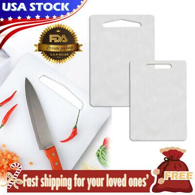 Set of 2 Pieces Plastic Cutting Board Non Slip Kitchen Butcher Chopping Block
