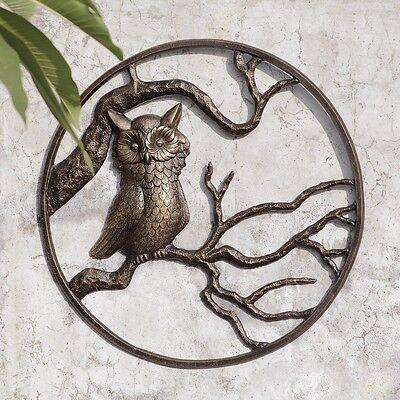 """Owl Garden Wall Art Hanging Decor Metal Hoot Owl Bird Indoor Outdoor Plaque 24"""""""