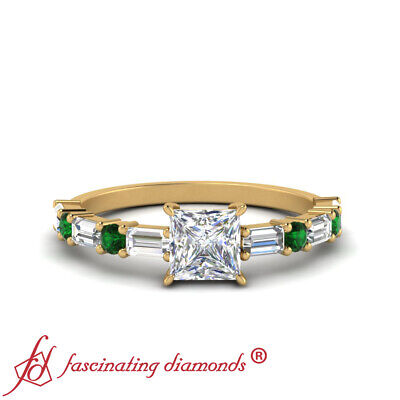 1 Ctw Princess Diamond Horizontal Wedding Ring With Baguette And Emerald Accents