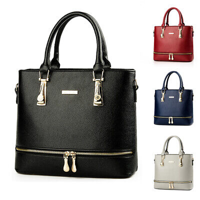 Elegant Women Lady Faux Leather Handbag Purse Shoulder Bag Zipper Messenger Tote Faux Leather Medium Tote Bag