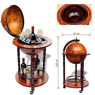 Globe Map Mini Bar Old Italian Style Wine Liquor Cabinet Storage Wood Rack Stand