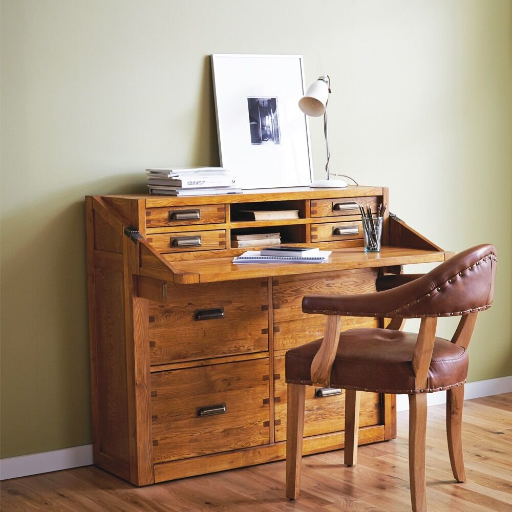 Nibbed Solid Oak Office Chest Desk Bureau Montana By Halo Furniture