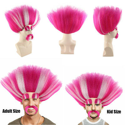 Troll Wig Costume (King Peppy Troll Style Pink White Cosplay Party Costume Full Wig Mustache)