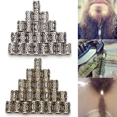 24 Style Norse Viking Rune Beads Jewelry Making Fit Hair Beard Bracelet Necklace](Beards Jewelry)