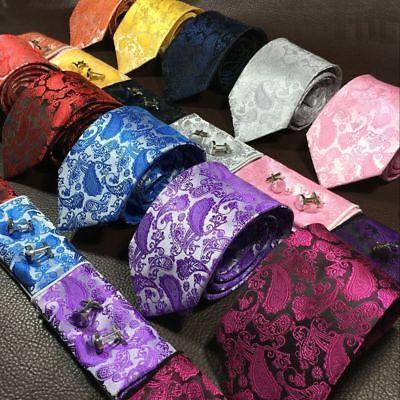 Woven Silk Necktie HandMade Mens Tie Cufflinks And Handkerchief Gift Set Hanky