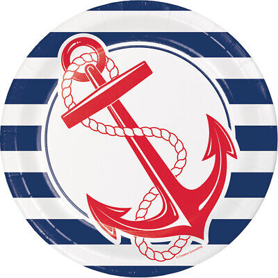 Nautical Anchor Paper Plates, 24 Count - Nautical Paper Plates