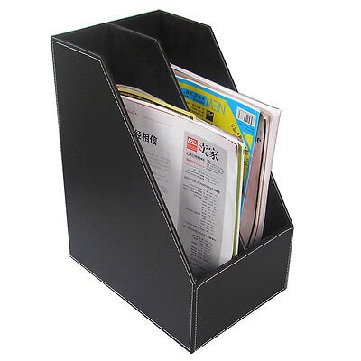Office Desk Files Organizer Pu Leather Wooden Files Holder Cabinet 2-slot Rack