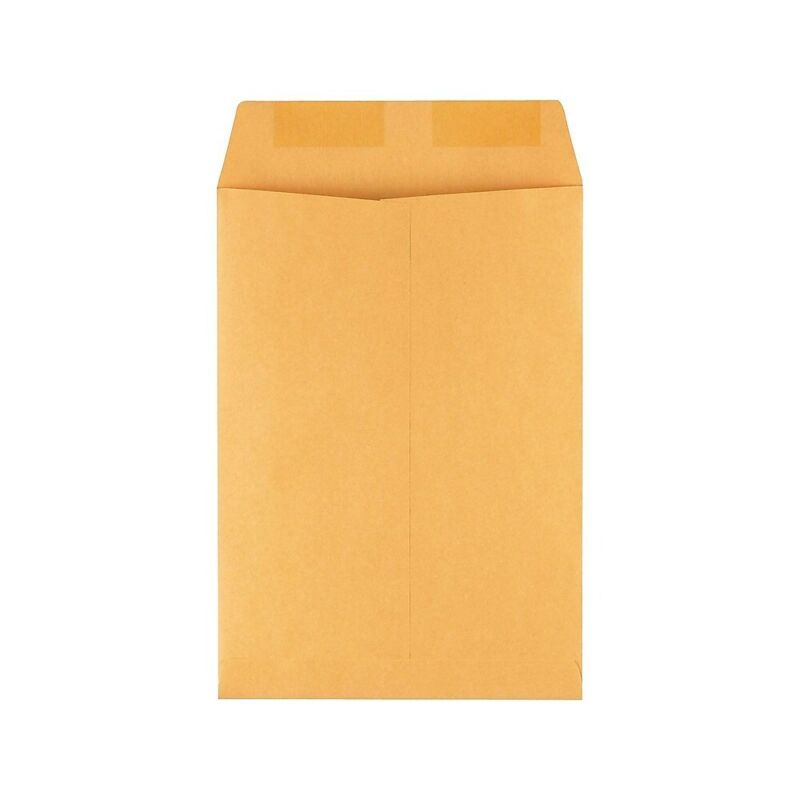 "Staples Gummed Flap Kraft Envelope 7 1/2"" x 10 1/2"" Brown 100/BX 534719"