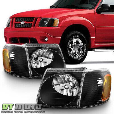 2001-2005 Ford Explorer Sport Trac Headlights Corner Headlamps Black -