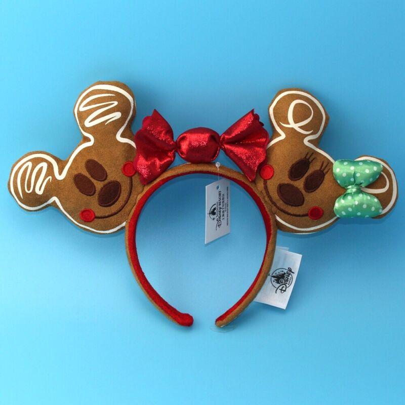 Disney Parks Ears Rare Christmas Holiday Gingerbread Minnie Girl Headband