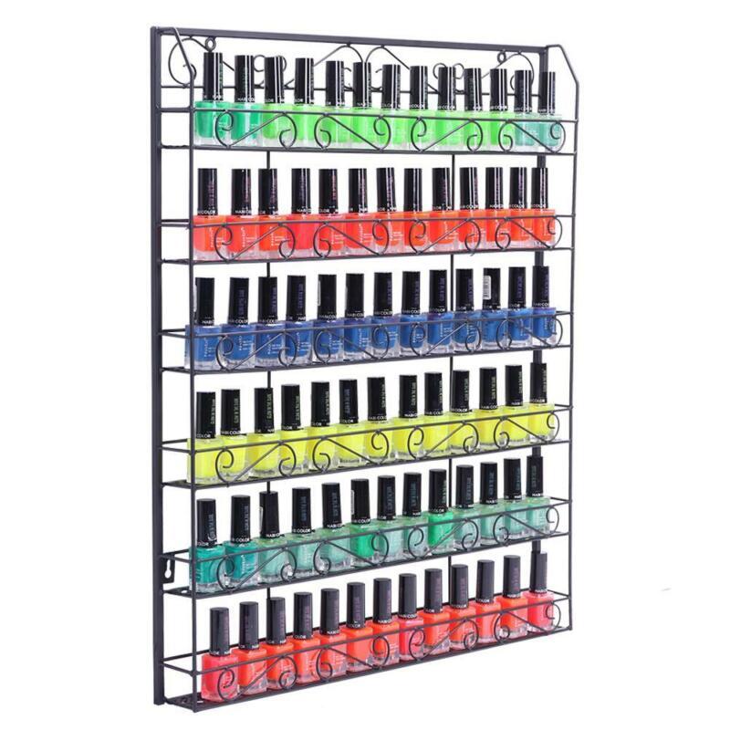 Pro 6 Tiers Wall Mounted Nail Polish Display Rack Lipstick Storage +120 Bottles