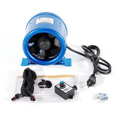 6 350cfm Inline Duct Fan Exhaust Blower Ventilation Wspeed Controller Blue New