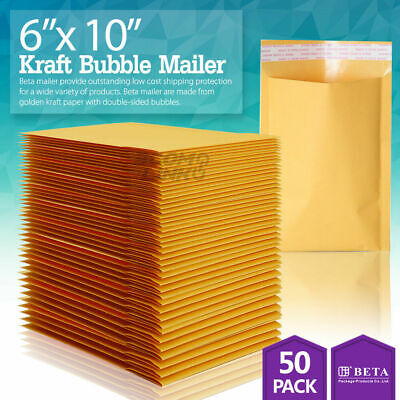 50 0 6 X 10 6x9 Kraft Bubble Padded Envelopes Mailers Shipping Bag