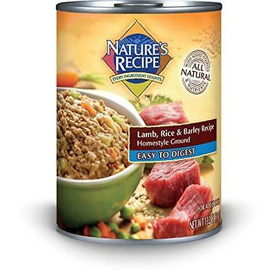 Nature's Recipe Canned Dog Food for Adult Dog, Easy to Digest Lamb Rice and Barl