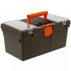 LARGE PLASTIC CASSETTE STYLE TOOL BOX ORGANISER DIY PLUMBING STORAGE CASE CHEST
