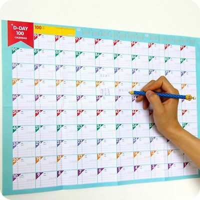 Work Plan 100 Days Calendars Schedules Countdown Calendar Target Table