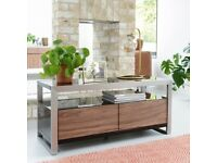 Dwell Nova TV Cabinet - Walnut, Black Gloss and Brushed Steel.