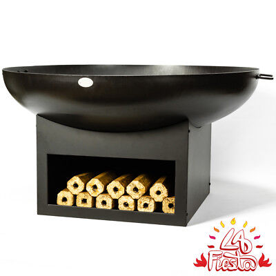 80cm Fire Bowl with Wood Store Black Firepit Outdoor Heating by La Fiesta